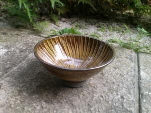 小鹿田 坂本浩二窯 飴釉打ち刷毛目6寸鉢